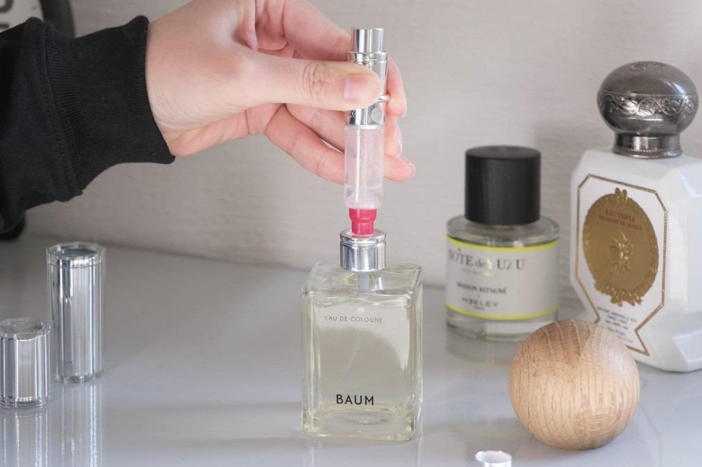 プッシュするだけで香水が入るトラヴァーロのアトマイザー